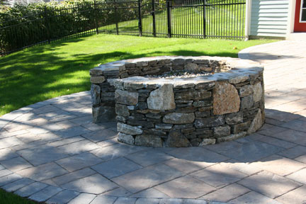 Fire Pit with Opening for Cooking, Stone Patio and Landscaping by New View
