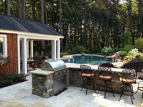 L Shaped Stone Bar with Built in Grill, Pool, Patio and Landscape by New View