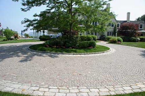 Cobblestone Driveway and Landscape by New View