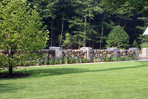 FField Stone and Granite Post Wall with Landscape by New View