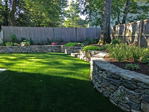 Stone Retaining Walls and Landscape by New View