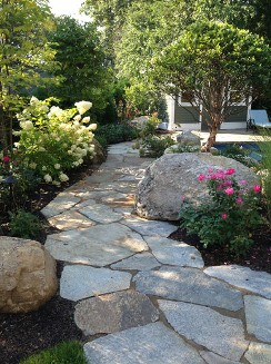 Informal Stone walkway, pool design and landscaping by New view Hopkinton, MA