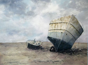 Beached, Watercolor by Doug DeWolfe of New View