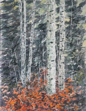 Birch in Autumn, Watercolor by Doug DeWolfe of New View