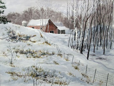 Snowy Pasture, Watercolor by Doug DeWolfe of New View