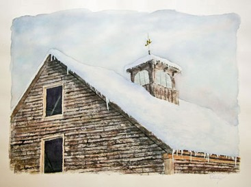 Snowy Roof, Watercolor by Doug DeWolfe of New View