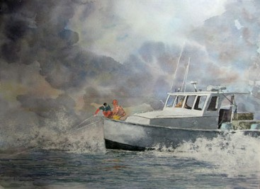 Lobster Boat, Watercolor by Doug DeWolfe of New View