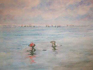 Clam Diggers, Watercolor by Doug DeWolfe of New View