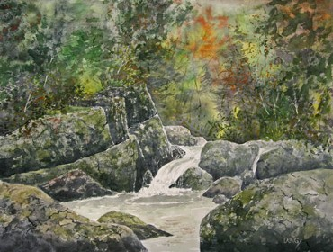 Rocky Pool, Watercolor by Doug DeWolfe of New View