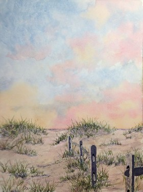 Long Beach Path, Watercolor by Doug DeWolfe of New View