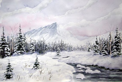 Snowy Brook, Watercolor by Doug DeWolfe of New View