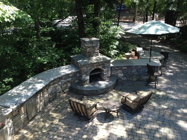 Fireplace and stone bar at Hopkinton Stone and Garden by New View