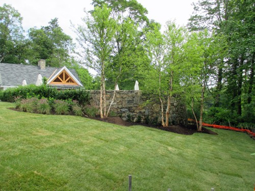 Stone Retaining Wall and Landscape Planting by New View
