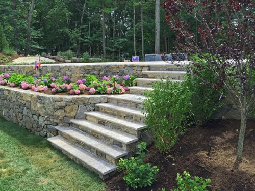 Travertine Steps with Stone Retaining Walls and Landscape by New View