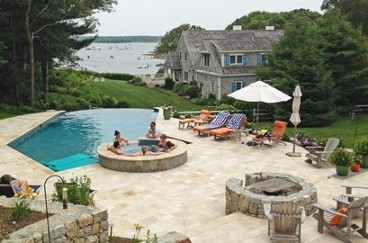 Fire pit with pool, spa and travertine patio by New View