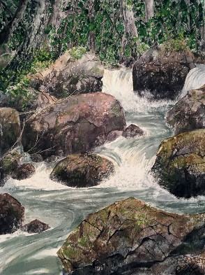 Rocky Brook, Watercolor by Doug DeWolfe of New View