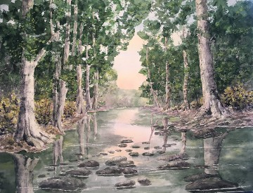 Tree Lined Brook, Watercolor by Doug DeWolfe