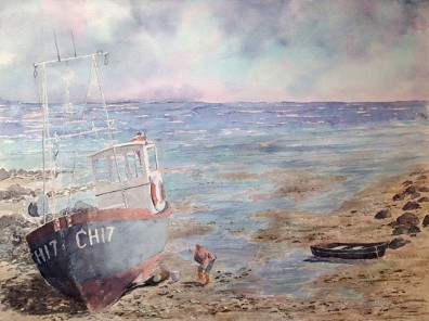 CH 17 Beached, Watercolor by Doug DeWolfe of New View