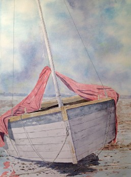 Sail Boat at Rest, Watercolor by Doug DeWolfe of New View