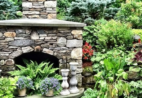 Landscape and Stonework Outdoor Fireplace