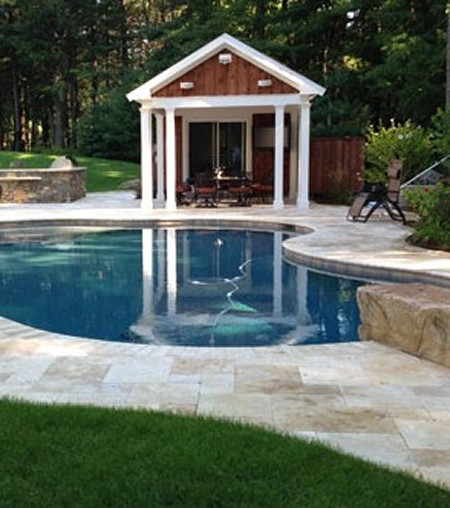 Pool, pool house, diving rock and bar- New View Inc.