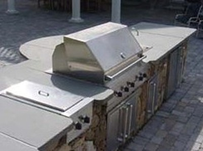 Stone Bar with Built in Grill, Side Burner and Curved Blue Stone Top