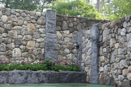 Granite Posts with Granite Block Wall and Granite Planter by New View