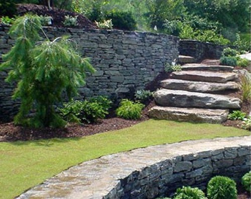 Stone Retaining Walls with Natural Stone Steps and Landscape by New View