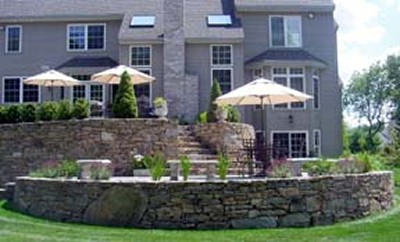 Multi Level Patios with Stone Retaining Walls and Landscape by New View